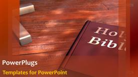 PowerPoint template displaying holy Bible on table