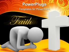 PowerPoint template displaying man praying in lap. Isolated 3D depiction