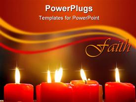 PowerPoint template displaying red Candles with blurry background