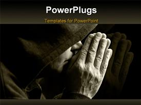 PowerPoint template displaying special black and white toned depiction focus point on hands in the background.