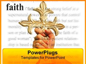 PowerPoint template displaying a large hand holding up a cross and a text which spells the word faith