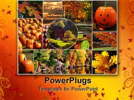 PowerPoint template displaying array of autumn depictions set into a collage