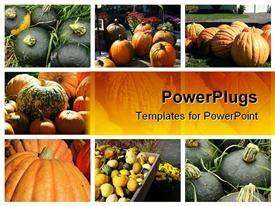 PowerPoint template displaying various tiles with different types of fruits on a yellow background