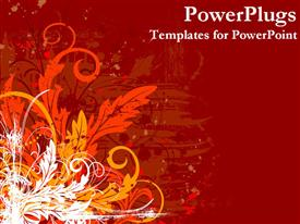 PowerPoint template displaying abstract floral design with artistic flowers and leaves on red background