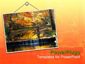 PowerPoint template displaying hanging sign with bridge and trees in autumn