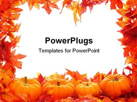 PowerPoint template displaying fall autumn leaf border with white background and pumpkins