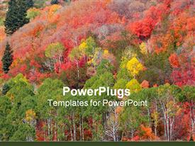 PowerPoint template displaying different multi colored trees growing on a hilly landscape