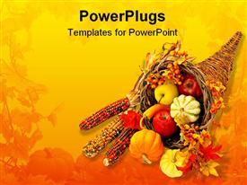 PowerPoint template displaying cornucopia in the background.