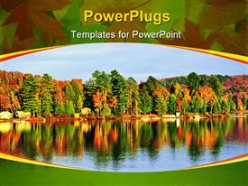 PowerPoint template displaying forest of colorful autumn trees reflecting in calm lake