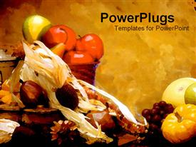 PowerPoint template displaying fall depiction with baskets filled with fruits on grunge background