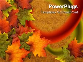 PowerPoint template displaying red, orange, green, and yellow leaves on a brown background