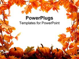 PowerPoint template displaying fall leaves and pumpkins frame the page