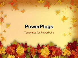 Colorful fall flowers for Halloween or Thanksgiving powerpoint template