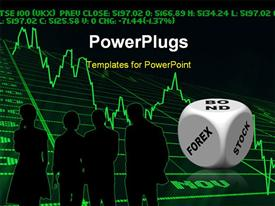 PowerPoint template displaying business silhouettes discussing bond forex stocks with graph