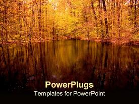 PowerPoint template displaying beautiful reflections on a pond