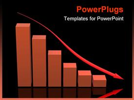 PowerPoint template displaying falling orange bar chart with glowing arrow on black