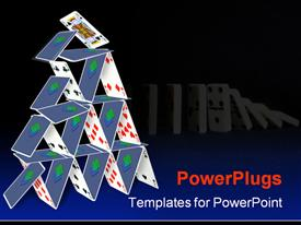 PowerPoint template displaying card house falling in the background.
