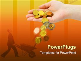PowerPoint template displaying an adult hand pouring out some gold coins with a man holding a wheelbarow