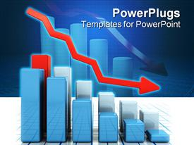 PowerPoint template displaying 3D graphic chart bars with red falling arrow representing falling profits