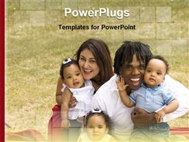 PowerPoint template displaying 3 babies with their parents