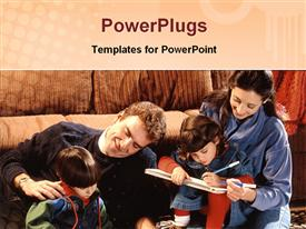 PowerPoint template displaying active family at home in the background.