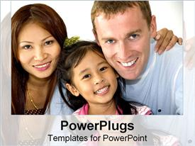 PowerPoint template displaying asian-American family smiles together