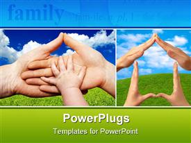 PowerPoint template displaying baby's hand holding the hands of parents isolated at the white background