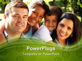 PowerPoint template displaying beautiful family enjoying together in the park in the background.