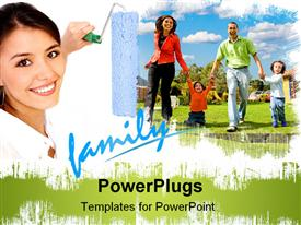 PowerPoint template displaying beautiful woman painting a family with a roller in the background.
