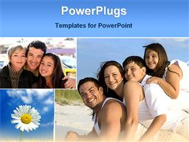PowerPoint template displaying children with parents with enjoying family life in the background.