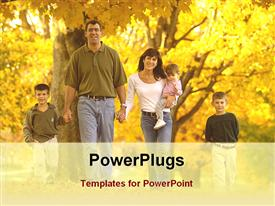 PowerPoint template displaying children with parents with maple garden