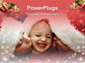 Children wearing Santa Claus hats and snowflake frame powerpoint template