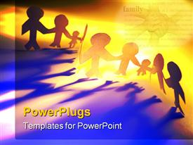 PowerPoint template displaying colorful paper chain family together holding hands in the background.
