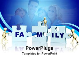 PowerPoint template displaying conceptual depiction - family making a puzzle. Objects over white in the background.