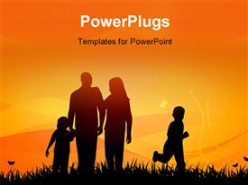 Couple with their two children on a field at sunset powerpoint template