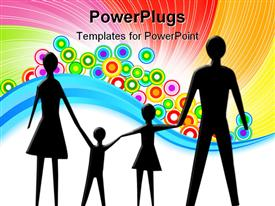 PowerPoint template displaying cutout paper family holding for hands white on grey in the background.