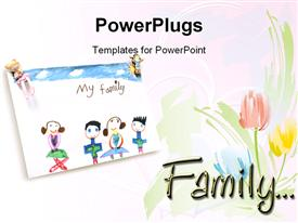 PowerPoint template displaying child drawing of loving family and roses on a white background