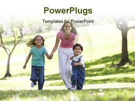 PowerPoint template displaying family having fun in the park with trees