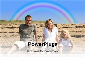 PowerPoint template displaying family on holiday at the beach with rainbow