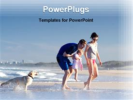 PowerPoint template displaying family on a beach holiday in the background.