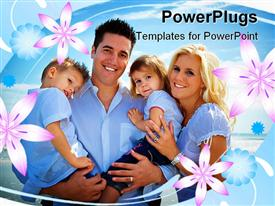 PowerPoint template displaying family on a beach standing looking into camera in the background.