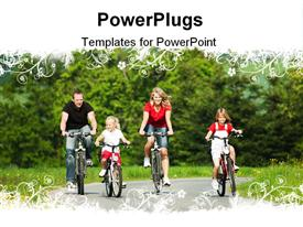 PowerPoint template displaying family with children having a weekend excursion on their bikes on a summer day in the background.