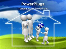 PowerPoint template displaying family. Father mother son and daughter in the background.