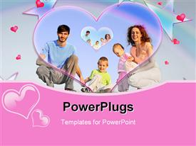 PowerPoint template displaying lovely and happy family collage with hearts and stars