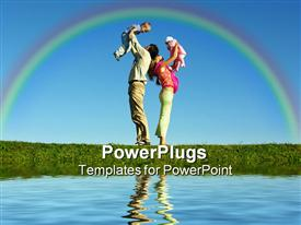 PowerPoint template displaying family of four and lake