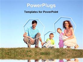 Family of four posing together presentation background