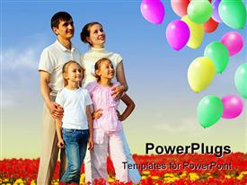 PowerPoint template displaying family of four in red field and balloons collage in the background.
