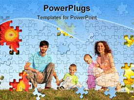 PowerPoint template displaying family of four in summer day puzzle collage in the background.