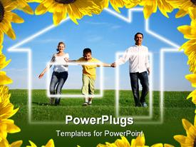 PowerPoint template displaying family grass sky. the dream house in the background.
