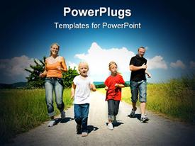 PowerPoint template displaying a family jogging on the road together